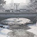 Žiema, sniegas, šaltis, tramvajus