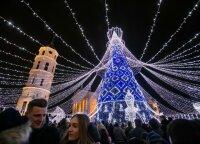 Chess queen-like Christmas tree lit up in Vilnius