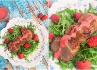 Tobulas vasaros skonis: karštos antienos salotos su aviečių padažu
