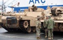 US tanks in the port of Brėmerhafene of Germany
