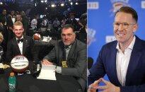 Domantas Sabonis, Arvydas Sabonis ir Samas Presti (twitter ir AP nuotr.)