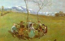 """Hanso Thomoso litografija """"Pavasaris kalnuose"""""""
