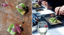 Sūdyta velniažuvė su marinuotais agurkais ir salotomis