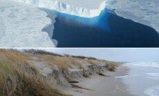 Thwaites ledo masyvas ir Baltijos jūros pakrantė po audros (AP ir M. Milinio nuotr.)