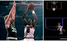 Larry Birdas ir Julius Ervingas (Getty Images, stopkadras)