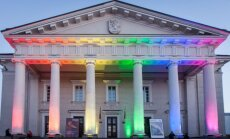 Vilnius' Town Hall in rainbow colours