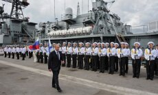 V. Putin and the Russian navy soldiers