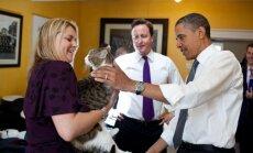 Barackas Obama ir Davidas Cameronas su katinu Lariu