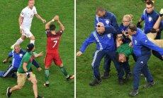 Cristiano Ronaldo, aikštės įsibrovėlis ir apsauginiai (AFP/Reuters/Scanpix nuotr.)