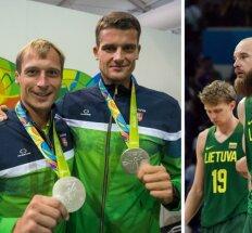 Mindaugas Griškonis ir Saulius Ritteris, Lietuvos krepšinio rinktinė (A. Pliadžio AFP-Scanpix nuotr.)