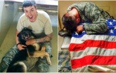 Graudi akimirka: kareivis išlydėjo mylimą šunį į paskutinę kelionę