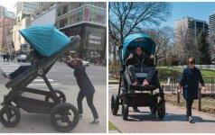 Išbandė, kaip vaikiškame vežimėlyje jaustųsi suaugęs žmogus