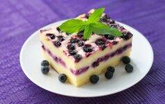 Gardus mėlynių pyragas su varške