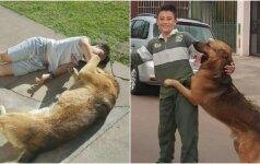 Įamžino jautrią akimirką: po ilgo laiko pas berniuką sugrįžta jo dingęs šuo