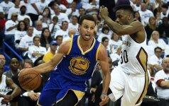 """39 taškus pelnęs S. Curry atvedė """"Warriors"""" klubą į NBA Vakarų konferencijos pusfinalį"""