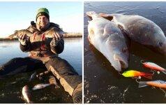 Prasidėjo poledinės žvejybos sezonas: žvejai traukia pirmuosius laimikius