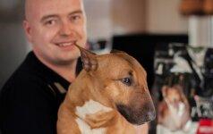 Nykštukinį bulterjerą auginantis Andrius: šuo šeimoje turi išlikti šunimi