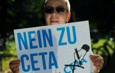 Protestas prieš ES ir Kanados laisvosios prekybos susiarimą Karlsrūjėje, Vokietijoje