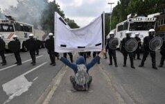 Briuselyje per susirėmimus su manifestantais nukentėjo aukštas policijos pareigūnas