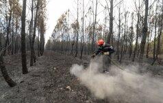 Ispanijos ugniagesiai grumiasi su miško gaisru netoli Donjanos nacionalinio parko