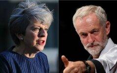 Theresa May ir Jeremy Corbynas