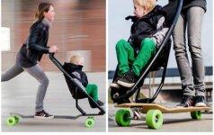 Vežimėlis ant riedlentės - išeitis skubantiems tėvams? Video