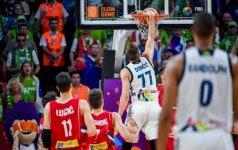Vienas prieš visus: Serbijos gynybą įveikęs L. Dončičius visa jėga sugrūdo kamuolį į krepšį