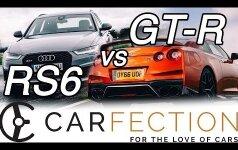 """Stebėkite, kaip gatvės lenktynėse """"Audi RS6"""" palieka dulkėmis springti """"Nissan GT-R"""""""