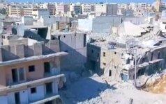 Bepilotis užfiksavo bombardavimo rytinėje Alepo dalyje padarinius