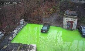 Vilniečiai užfiksavo neįprastą reginį: kieme išsiliejo žalias skystis