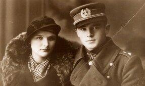 Kapitonas Jonas Noreika-Generolas Vėtra su būsima žmona Antanina Karpavičiūte. Apie 1936 m., Palanga,  LGGRTC nuotr.'
