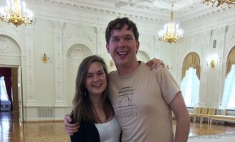 Indre Altman and her brother Darius at the Presidential Palace in Vilnius
