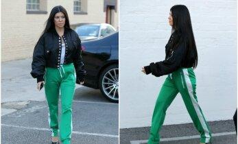 """K. Kardashian stiliaus """"ansamblis"""": į verslo susitikimą – su iš tolo šviečiančiais žaliais treningais"""