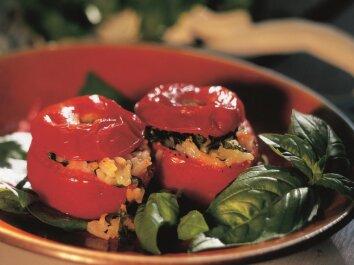 Ryžiais ir sūriu įdaryti pomidorai