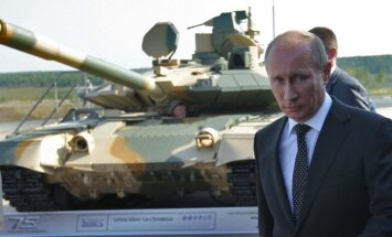 Vladimiras Putinas ir rusiškas tankas T–90 S