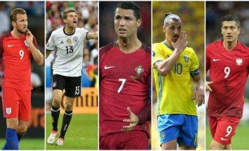 Harry Kane'as, Thomasas Mulleris, Cristiano Ronaldo, Zlatanas Ibrahimovičius ir Robertas Lewandowskis (AFP ir Sipa nuotr.)