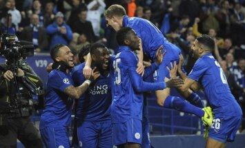Leicester City futbolininkų džiaugsmas