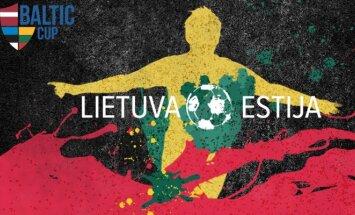 Lietuvos futbolo rinktinės spaudos konferencija skirtas plakatas.