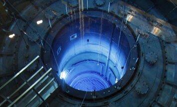 Atviras atominis reaktorius su kuro strypais Muehlebergo atominėje elektrinėje Šveicarijoje