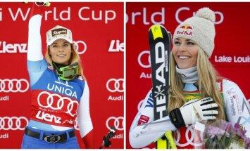 Lara Gut (kairėje) ir Lindsey Vonn (Reuters ir AP nuotr.)