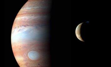 NASA nuotraukų montažas - Jupiteris ir jo palydovas Ijo