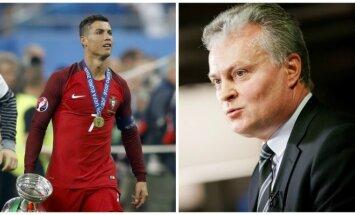 Cristiano Ronaldo ir Gitanas Nausėda (AP-Scanpix ir DELFI nuotr.)