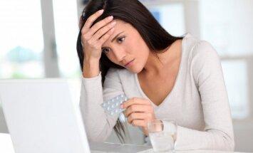 Liga, galvos skausmas, kompiuteris, darbas, stresas