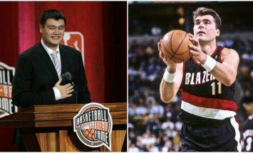 Yao Mingas ir Arvydas Sabonis ( Reuters ir Vida Press nuotr.)
