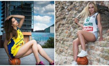 Merginos pozuoja su krepšinio aprangomis (PhotoDūmas nuotr.)