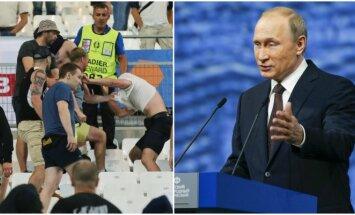 Vladimiras Putinas pasisakė apie futbolo sirgalių riaušes Prancūzijoje (AP ir Sputnik nuotr.)