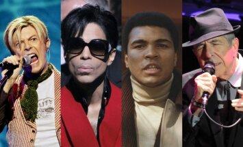 Davidas Bowie, Prince'as, Muhammadas Ali, Leonardas Cohenas
