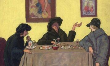 """Barbora Didžiokienė. Kauno """"kabake"""". Barboros Didžiokienės, Teonos Herbačiauskienės ir Olgos Dubeneckienės-Kalpokienės karikatūra (1922)"""