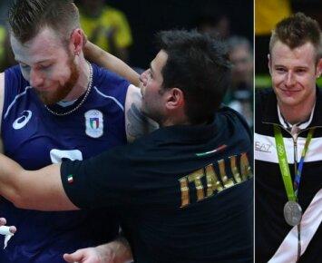 Italijos rinktinės trenerio Gianlorenzo Blengini bergždžiai guostas Ivanas Zaicevas kiek nurimo iškart po mačo nusiskutęs barzdą (AFP ir Reuters nuotr.)