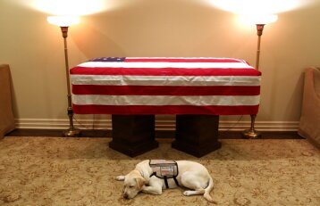 Jautrus atsisveikinimas: Džordžo H. V. Bušo šuo budėjo prie mirusio šeimininko karsto